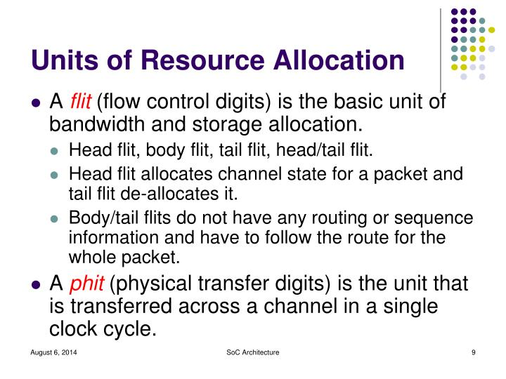 Units of Resource Allocation