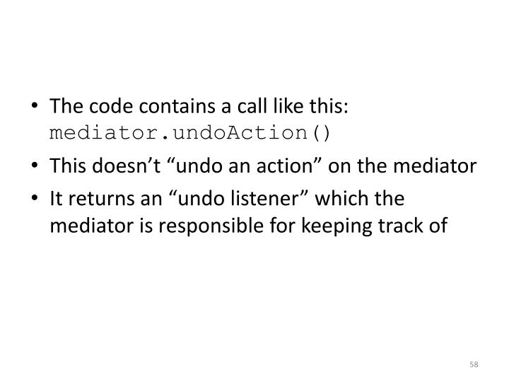 The code contains a call like this: