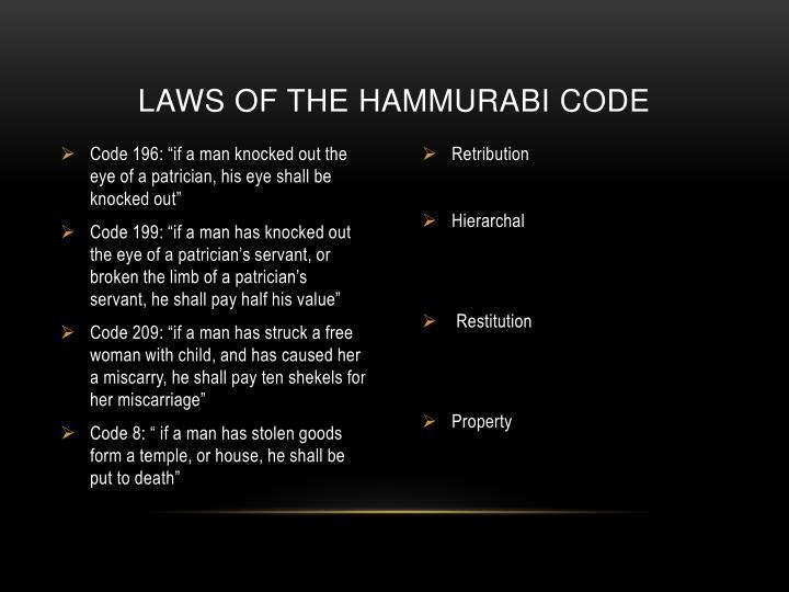 Laws of the Hammurabi code