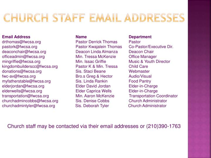 Church staff email addresses