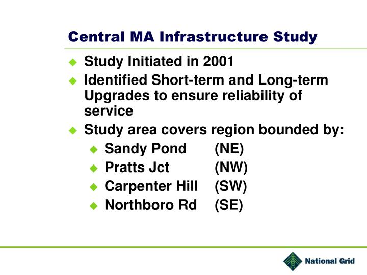 Central MA Infrastructure Study