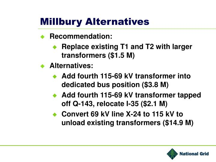 Millbury Alternatives