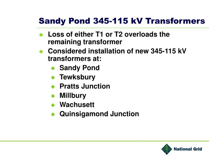 Sandy Pond 345-115 kV Transformers
