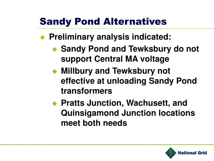 Sandy Pond Alternatives