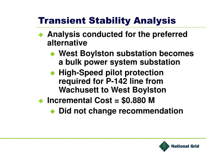 Transient Stability Analysis