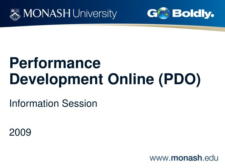 Performance development online pdo information session 2009