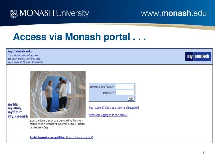 Access via Monash portal . . .