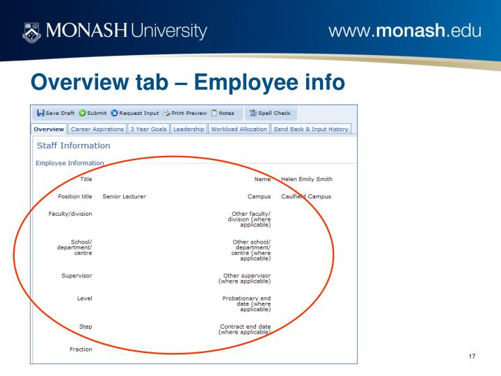 Overview tab – Employee info