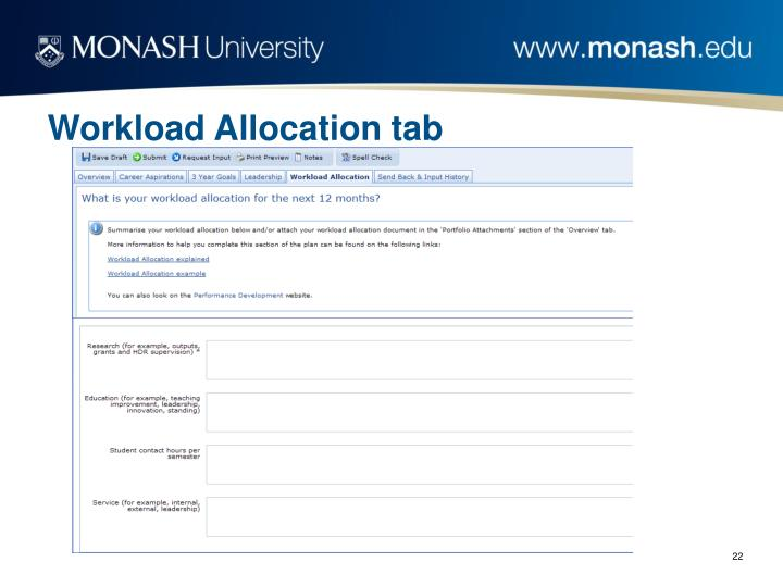 Workload Allocation tab