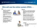 who will use the online system pdo
