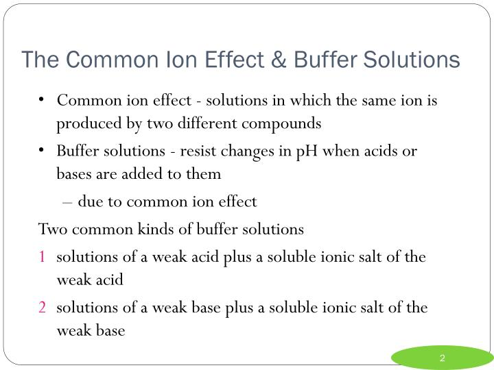 The common ion effect buffer solutions