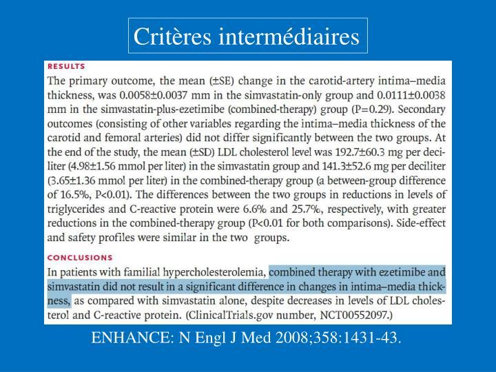 Critères intermédiaires