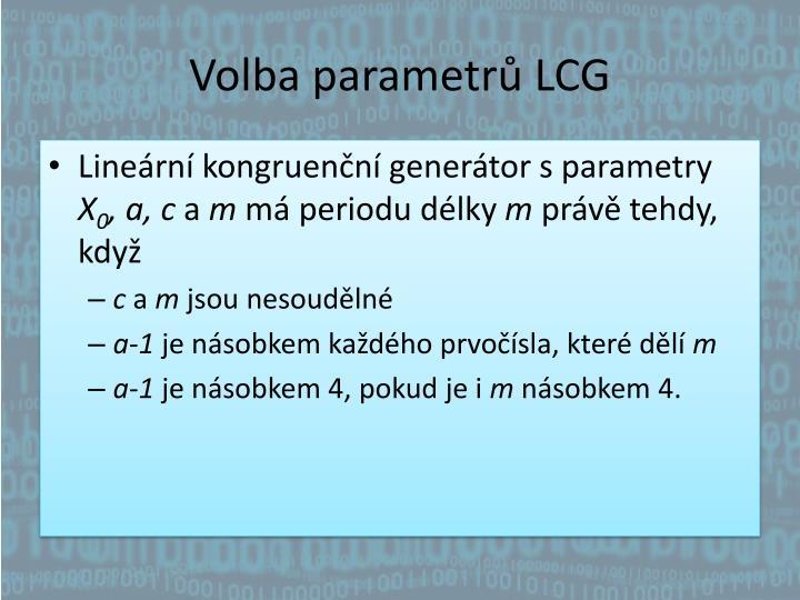 Volba parametrů LCG