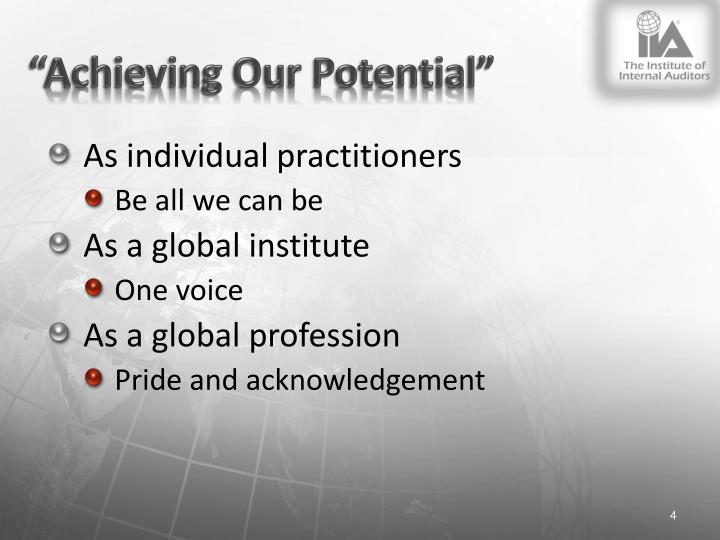 """Achieving Our Potential"""