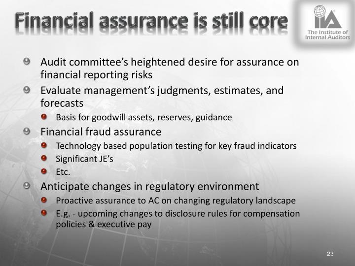 Financial assurance is still core