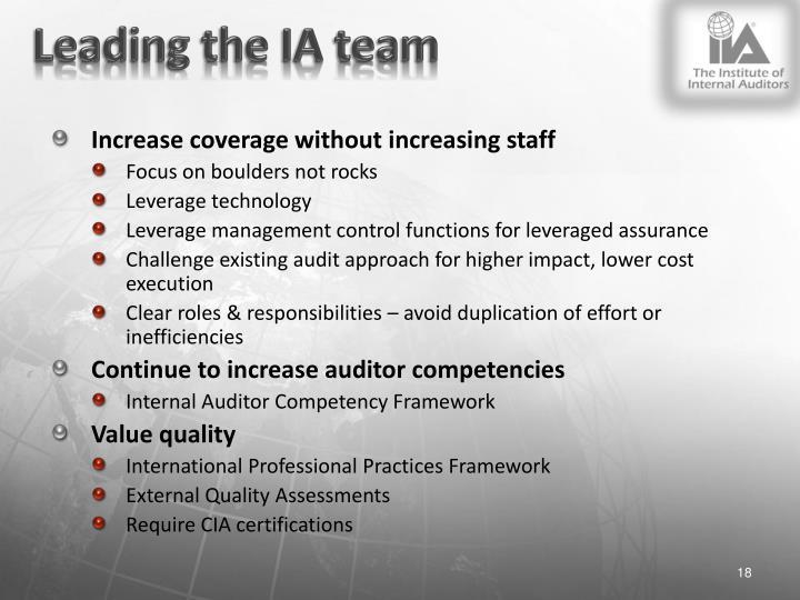 Leading the IA team