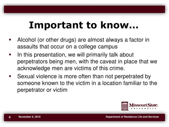 Important to know…