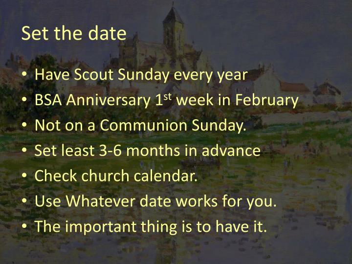 Set the date