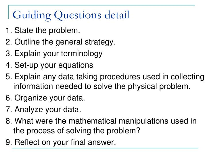 Guiding Questions detail