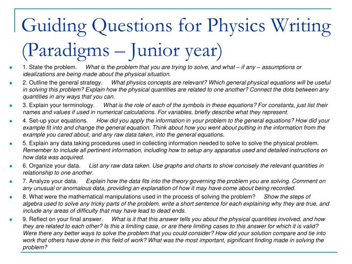 Guiding Questions for Physics Writing (Paradigms – Junior year)