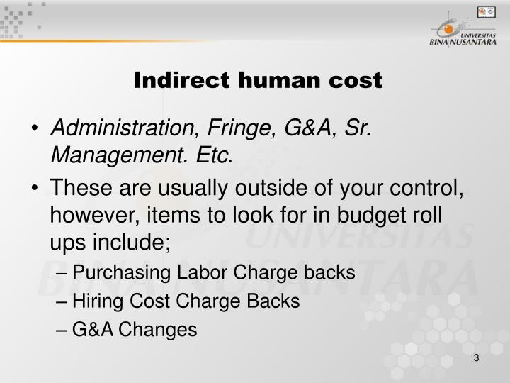 Indirect human cost