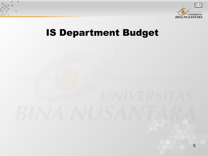 IS Department Budget
