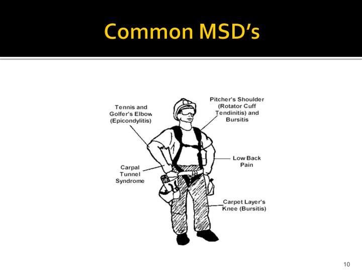 Common MSD's