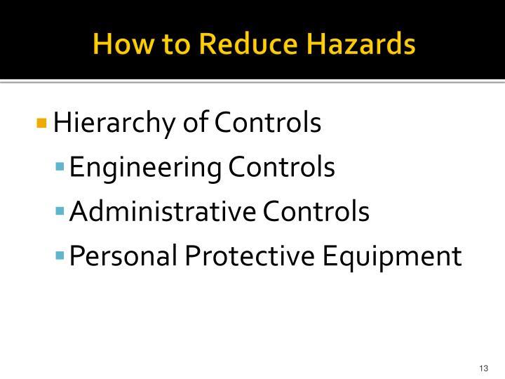How to Reduce Hazards