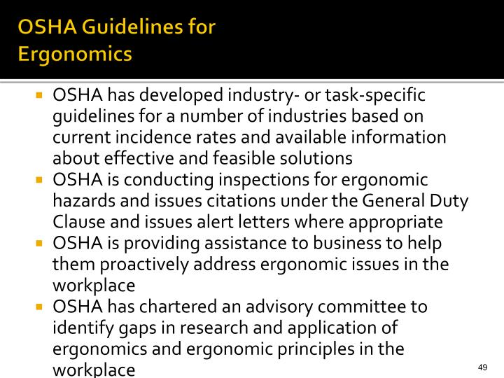 OSHA Guidelines for