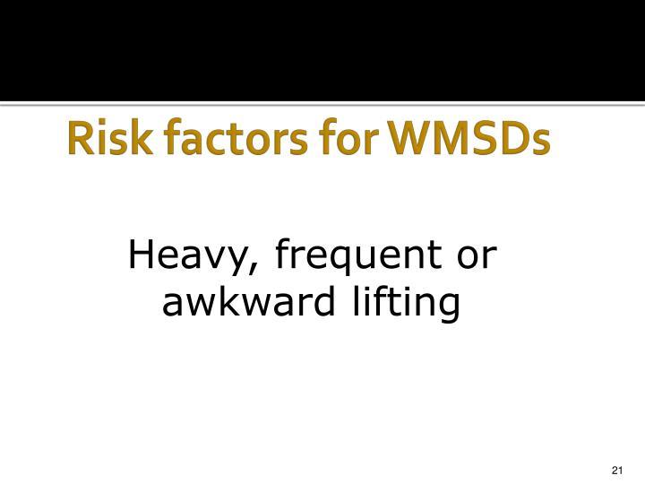 Risk factors for WMSDs