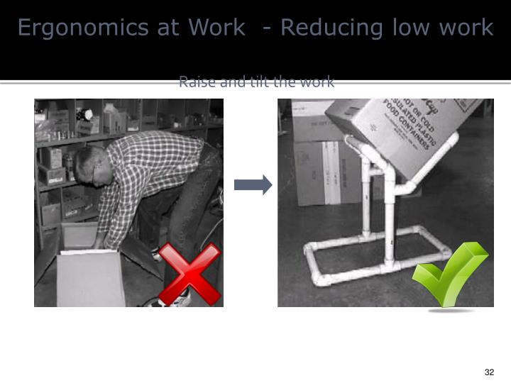 Ergonomics at Work  - Reducing
