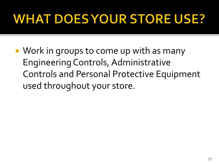 WHAT DOES YOUR STORE USE?