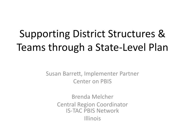 Supporting district structures teams through a state level plan