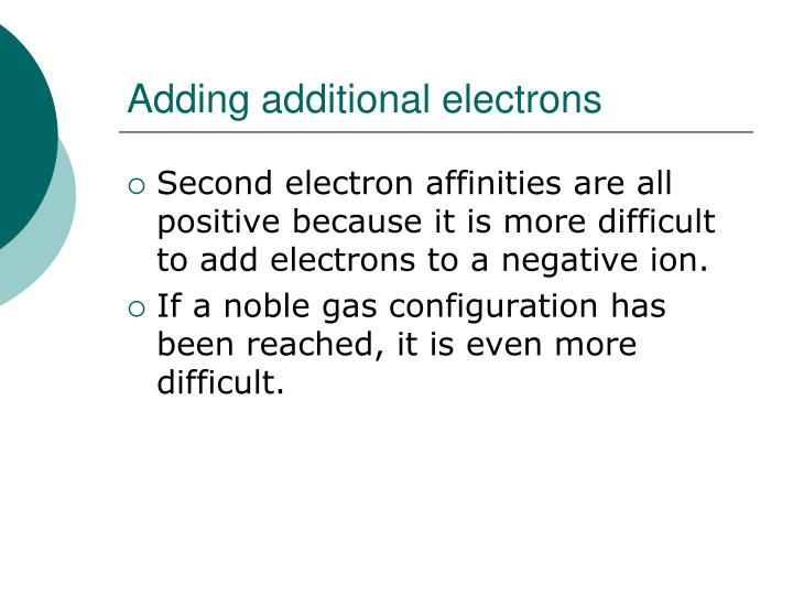 Adding additional electrons
