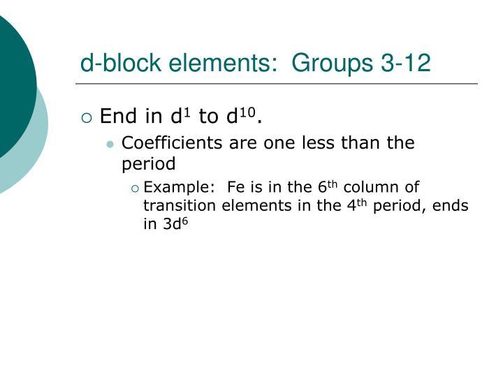 d-block elements:  Groups 3-12