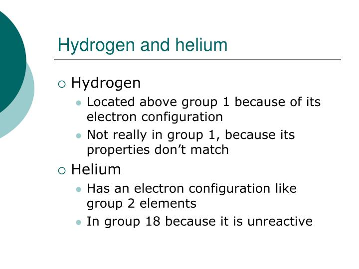 Hydrogen and helium