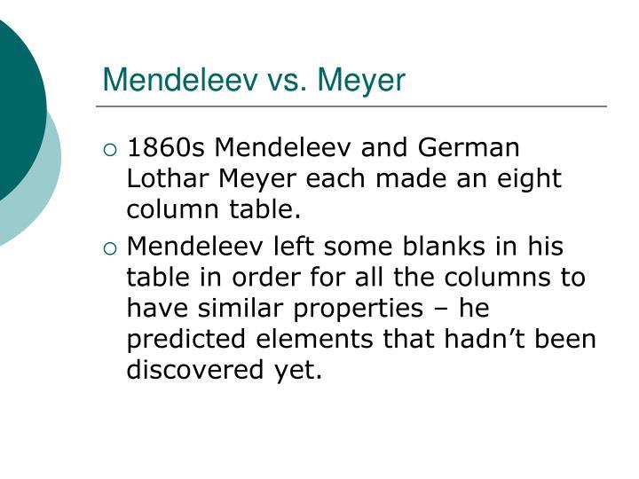 Mendeleev vs. Meyer