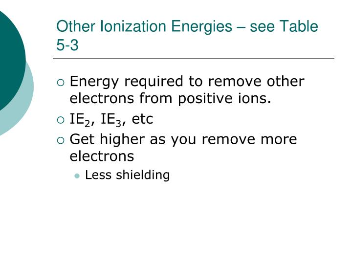 Other Ionization Energies – see Table 5-3