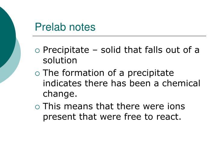 Prelab notes