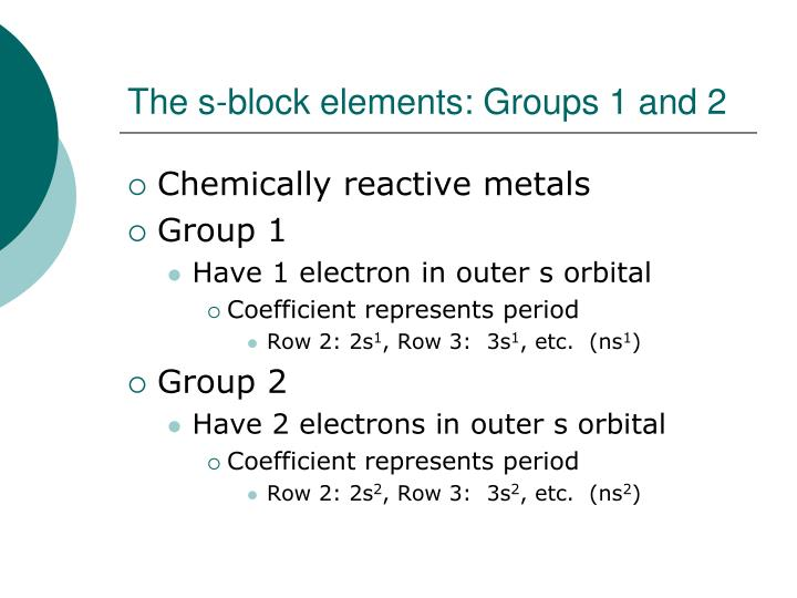 The s-block elements: Groups 1 and 2