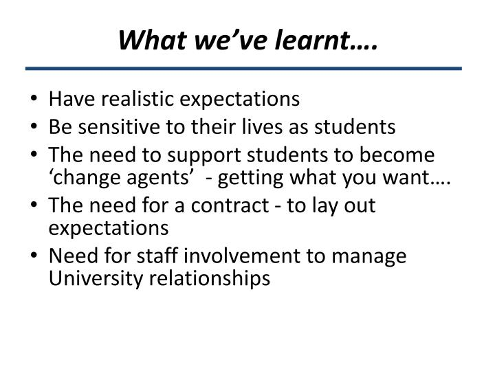 What we've learnt….