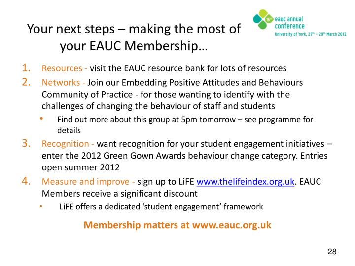 Your next steps – making the most of your EAUC Membership…