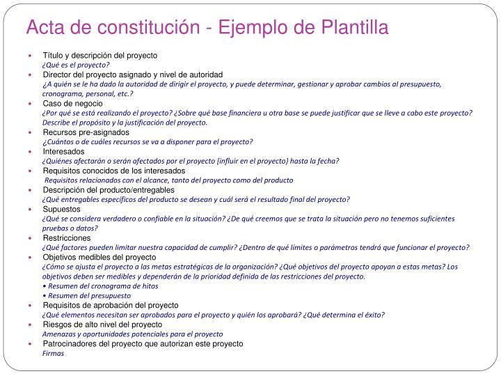 Acta de constitución - Ejemplo de Plantilla
