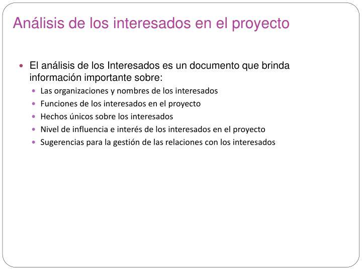 Análisis de los interesados en el proyecto