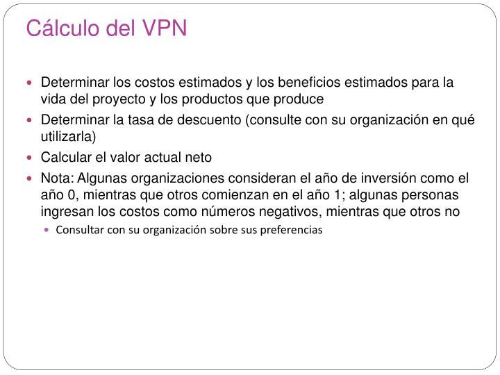 Cálculo del VPN