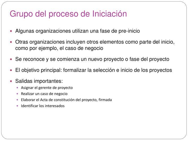 Grupo del proceso de Iniciación
