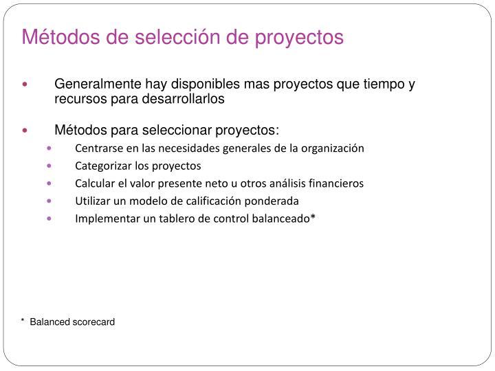 Métodos de selección de proyectos