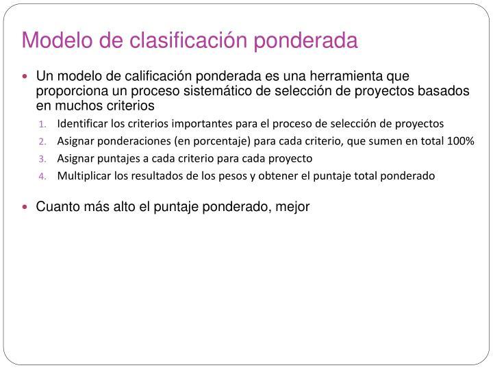 Modelo de clasificación ponderada