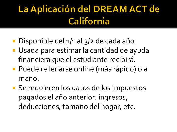 La Aplicación del DREAM ACT de California