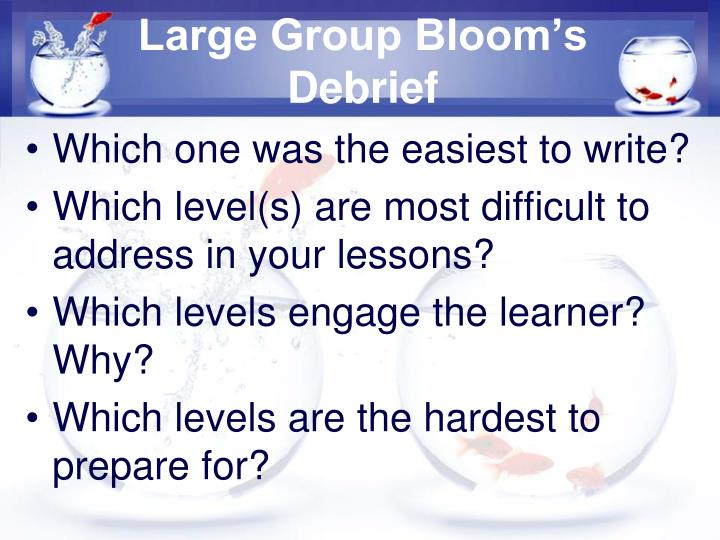 Large Group Bloom's Debrief